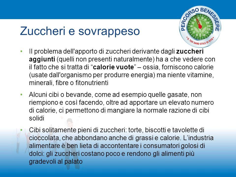 Zuccheri e sovrappeso Il problema dell'apporto di zuccheri derivante dagli zuccheri aggiunti (quelli non presenti naturalmente) ha a che vedere con il