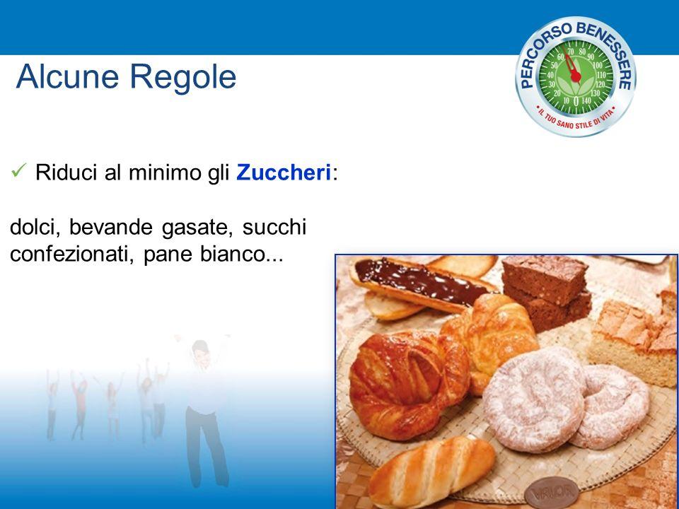 Riduci al minimo gli Zuccheri: dolci, bevande gasate, succhi confezionati, pane bianco... Alcune Regole