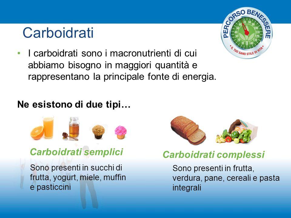 Carboidrati I carboidrati sono i macronutrienti di cui abbiamo bisogno in maggiori quantità e rappresentano la principale fonte di energia. Ne esiston
