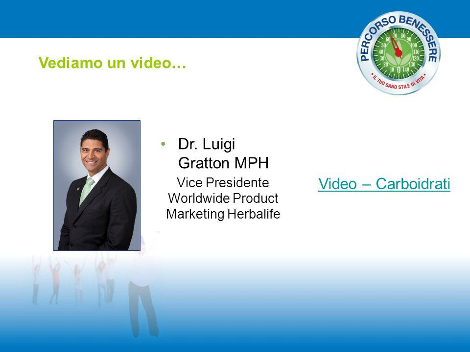 Vediamo un video… Video – Carboidrati Dr. Luigi Gratton MPH Vice Presidente Worldwide Product Marketing Herbalife