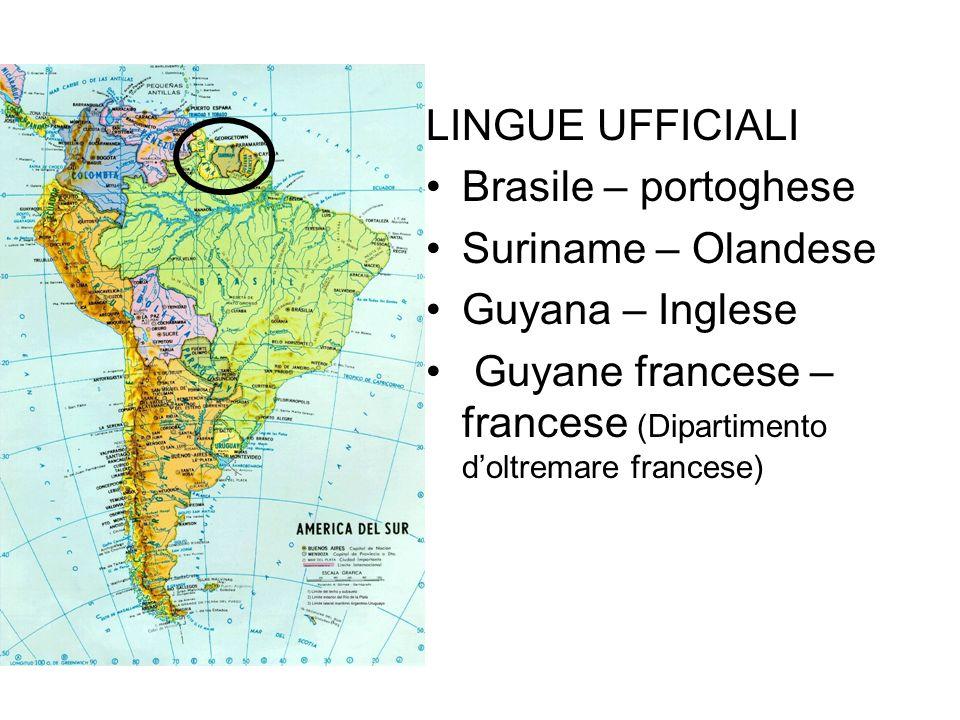 LINGUE UFFICIALI Brasile – portoghese Suriname – Olandese Guyana – Inglese Guyane francese – francese (Dipartimento doltremare francese)