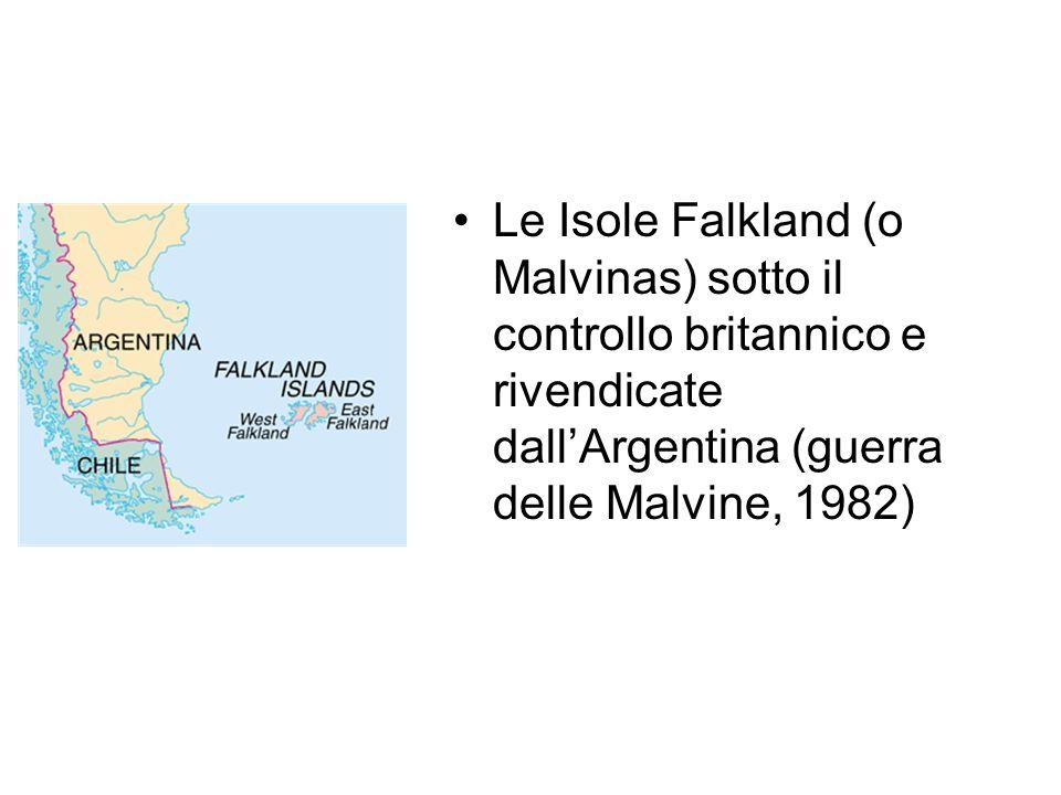 Le Isole Falkland (o Malvinas) sotto il controllo britannico e rivendicate dallArgentina (guerra delle Malvine, 1982)