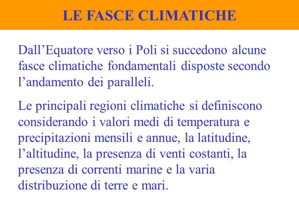 LE FASCE CLIMATICHE DallEquatore verso i Poli si succedono alcune fasce climatiche fondamentali disposte secondo landamento dei paralleli. Le principa