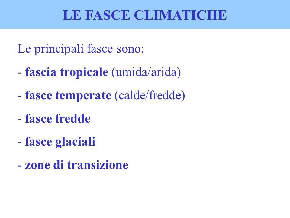 LE FASCE CLIMATICHE Le principali fasce sono: - fascia tropicale (umida/arida) - fasce temperate (calde/fredde) - fasce fredde - fasce glaciali - zone