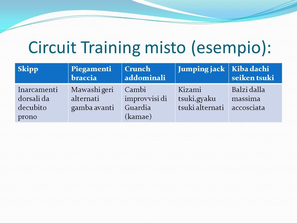 Circuit Training misto (esempio): SkippPiegamenti braccia Crunch addominali Jumping jackKiba dachi seiken tsuki Inarcamenti dorsali da decubito prono