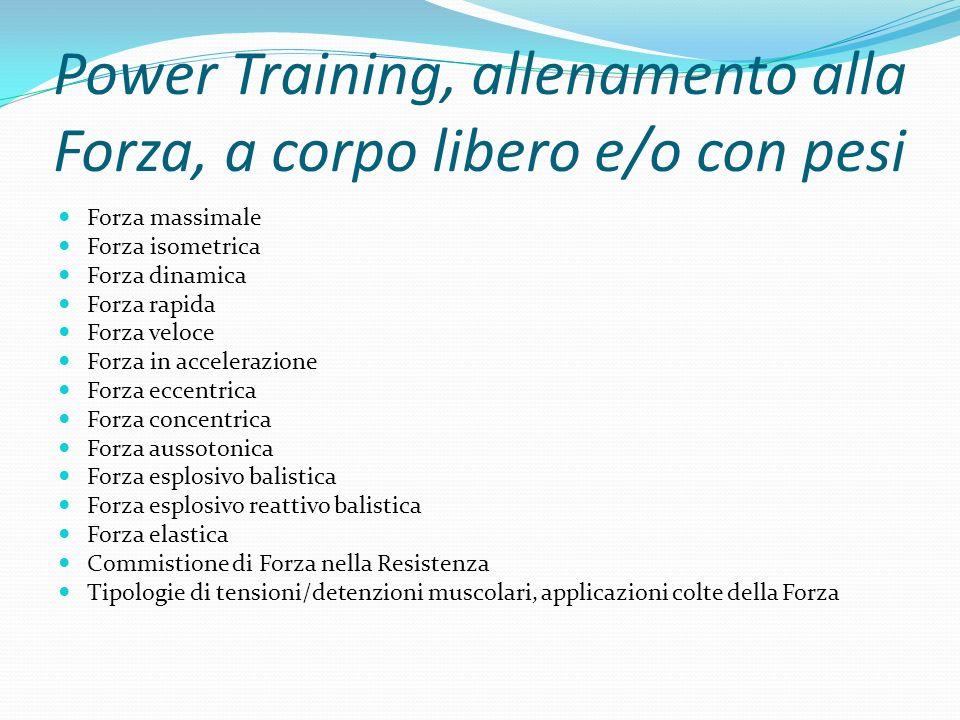 Power Training, allenamento alla Forza, a corpo libero e/o con pesi Forza massimale Forza isometrica Forza dinamica Forza rapida Forza veloce Forza in