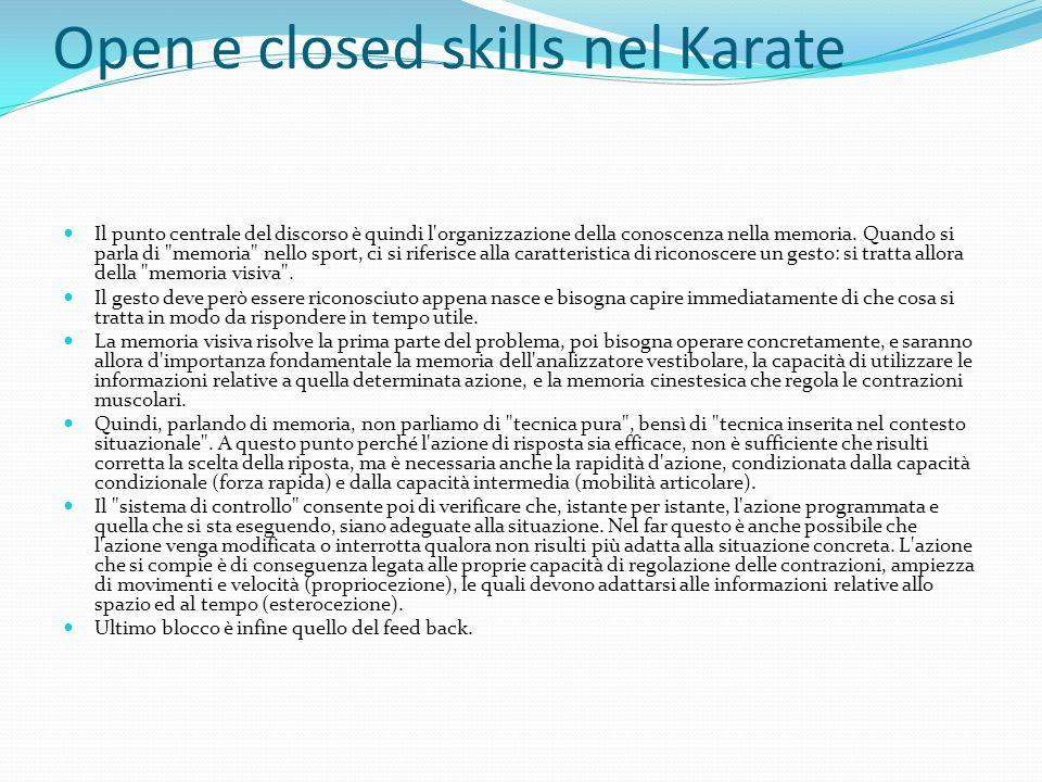 Open e closed skills nel Karate Il punto centrale del discorso è quindi l'organizzazione della conoscenza nella memoria. Quando si parla di