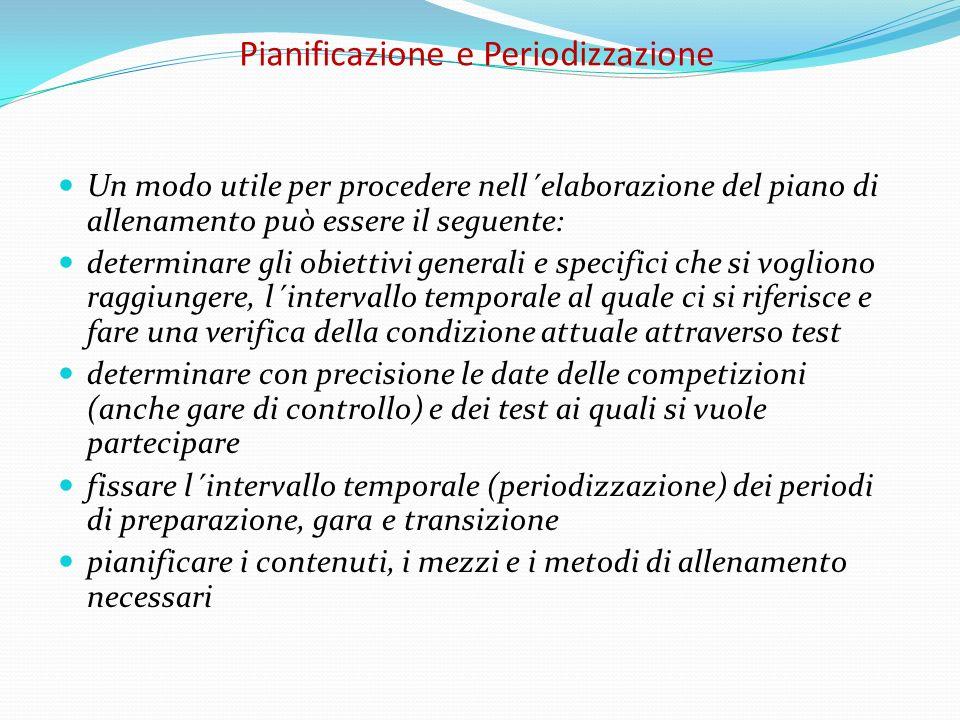 Pianificazione e Periodizzazione Un modo utile per procedere nell´elaborazione del piano di allenamento può essere il seguente: determinare gli obiett
