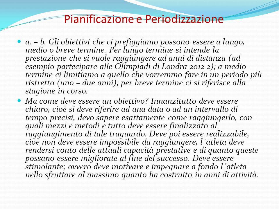 Pianificazione e Periodizzazione a. – b. Gli obiettivi che ci prefiggiamo possono essere a lungo, medio o breve termine. Per lungo termine si intende