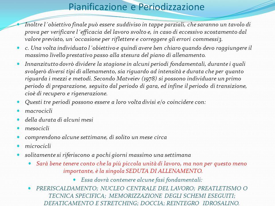 Pianificazione e Periodizzazione Inoltre l´obiettivo finale può essere suddiviso in tappe parziali, che saranno un tavolo di prova per verificare l´ef