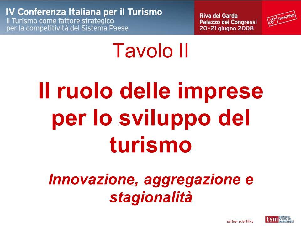 Tavolo II Il ruolo delle imprese per lo sviluppo del turismo Innovazione, aggregazione e stagionalità
