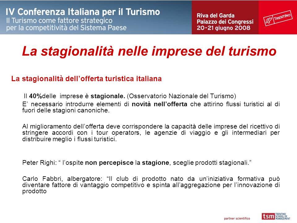 La stagionalità nelle imprese del turismo La stagionalità dellofferta turistica italiana Il 40%delle imprese è stagionale.