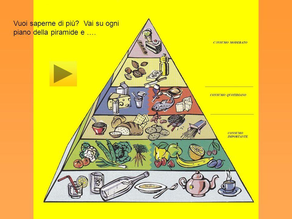 Bisogna consumare con più frequenza e in quantità maggiore gli alimenti posti nella parte bassa della piramide alimentare. Gli alimenti situati al ver
