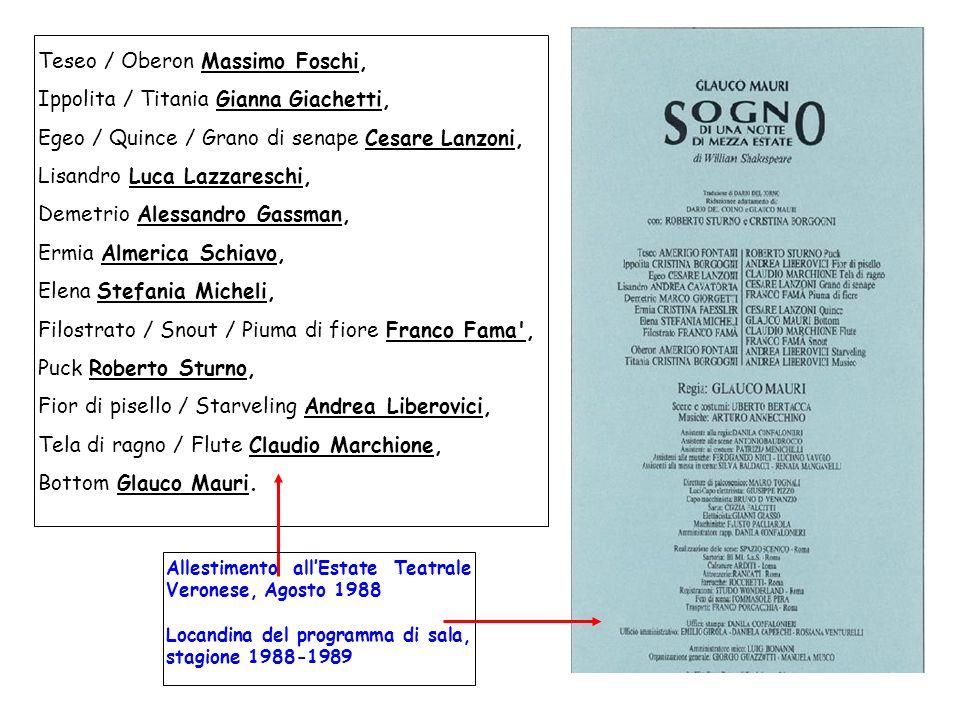 Teseo / Oberon Massimo Foschi, Ippolita / Titania Gianna Giachetti, Egeo / Quince / Grano di senape Cesare Lanzoni, Lisandro Luca Lazzareschi, Demetri