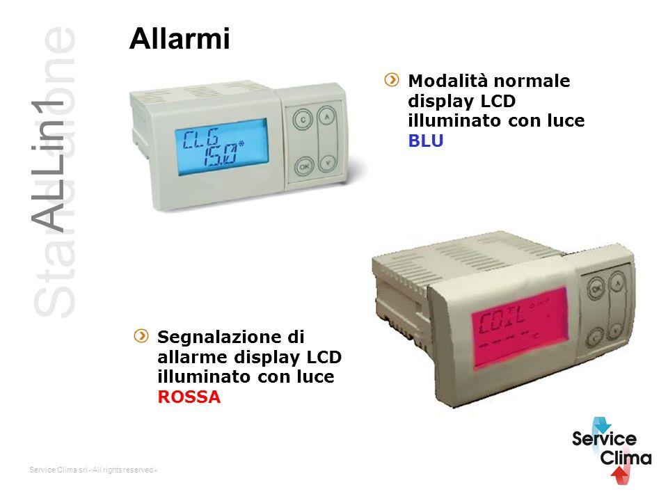 Service Clima srl - All rights reserved - Allarmi Modalità normale display LCD illuminato con luce BLU Segnalazione di allarme display LCD illuminato