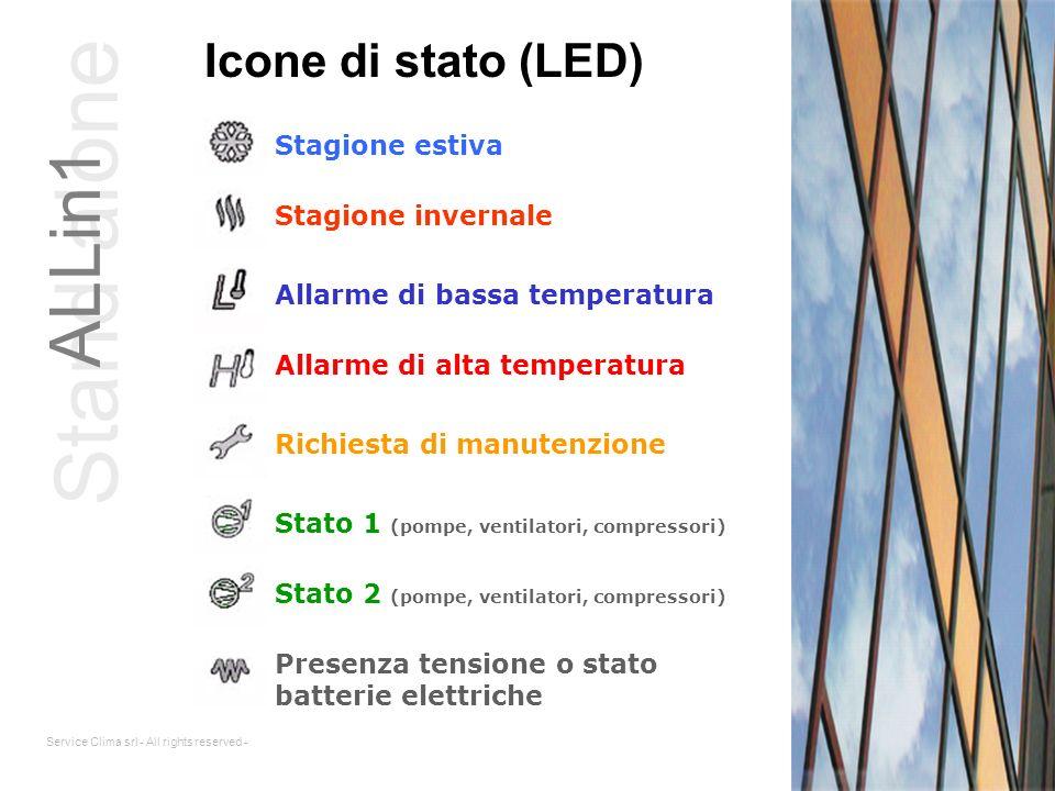Service Clima srl - All rights reserved - Icone di stato (LED) Stagione estiva Allarme di bassa temperatura Stagione invernale Allarme di alta tempera