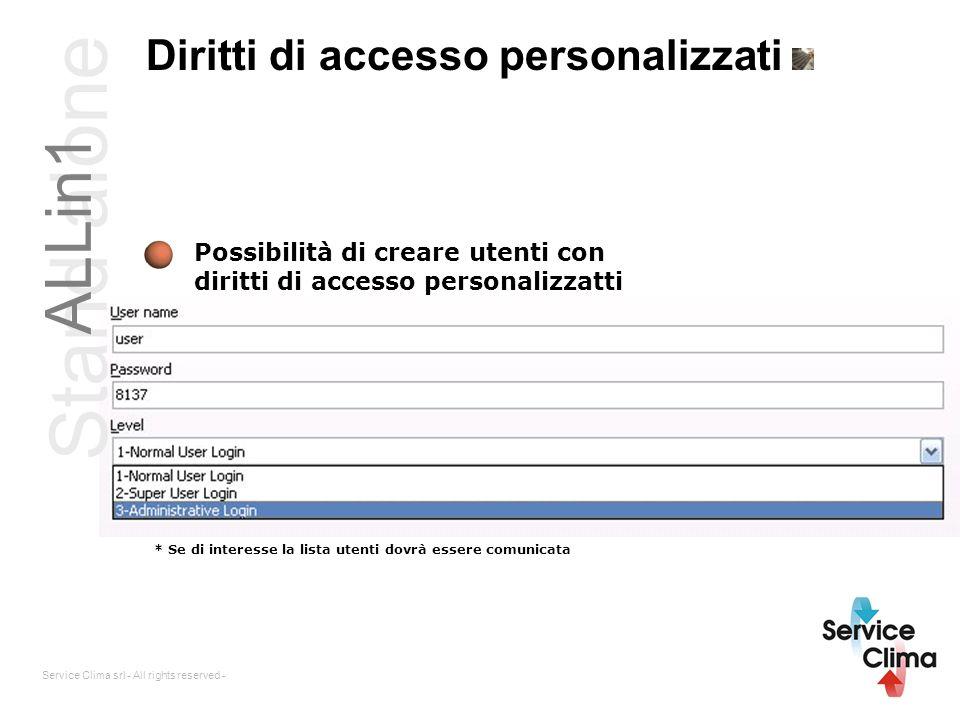 Service Clima srl - All rights reserved - Diritti di accesso personalizzati Possibilità di creare utenti con diritti di accesso personalizzatti * Se d