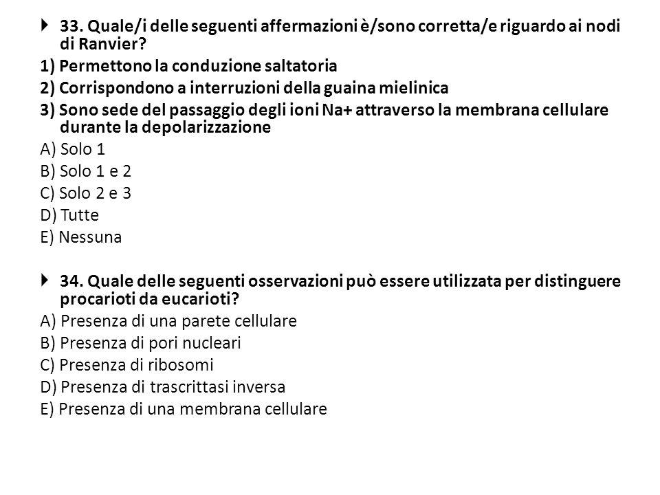 33. Quale/i delle seguenti affermazioni è/sono corretta/e riguardo ai nodi di Ranvier? 1) Permettono la conduzione saltatoria 2) Corrispondono a inter
