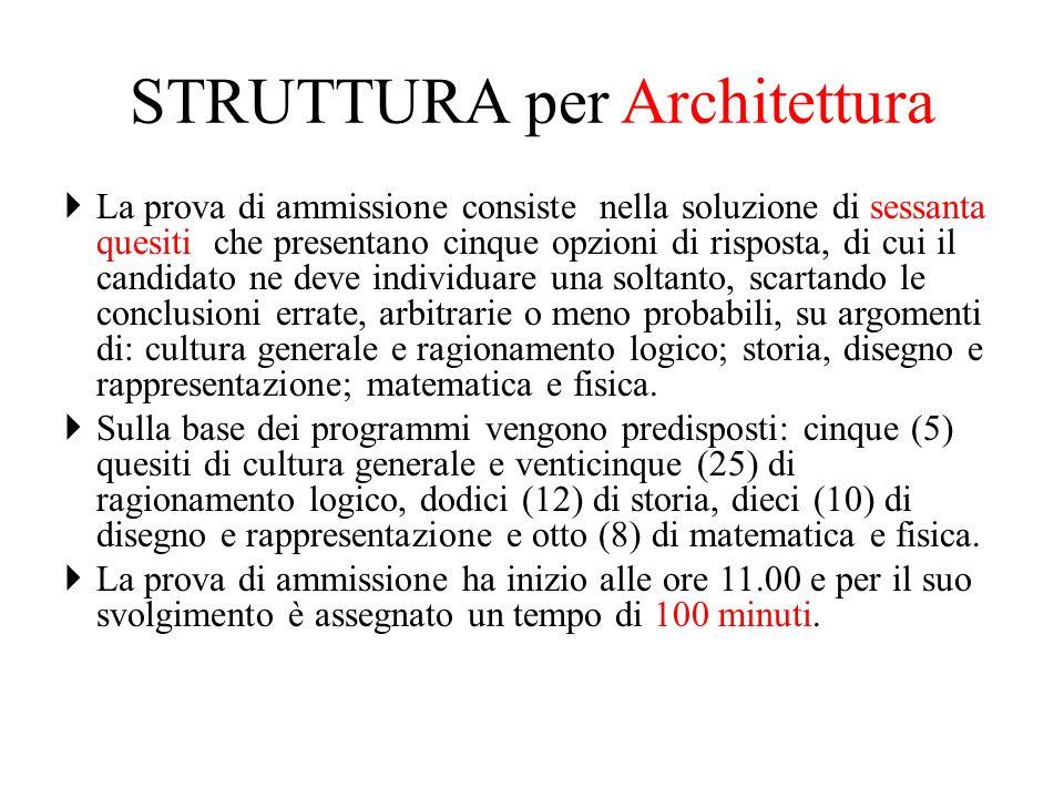 STRUTTURA per Architettura La prova di ammissione consiste nella soluzione di sessanta quesiti che presentano cinque opzioni di risposta, di cui il ca