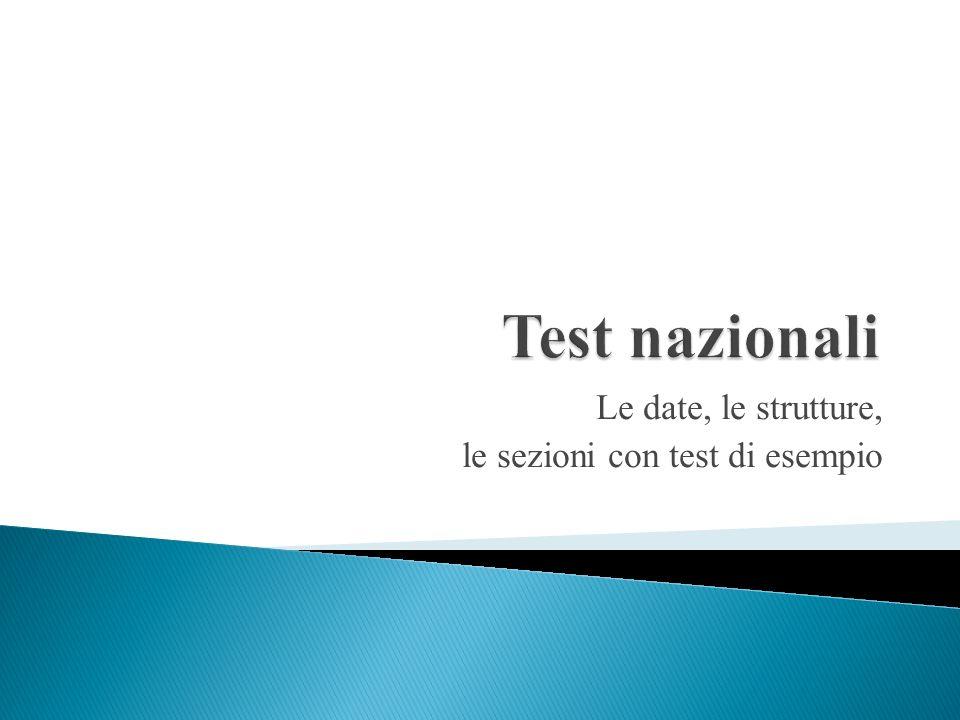 Le date, le strutture, le sezioni con test di esempio