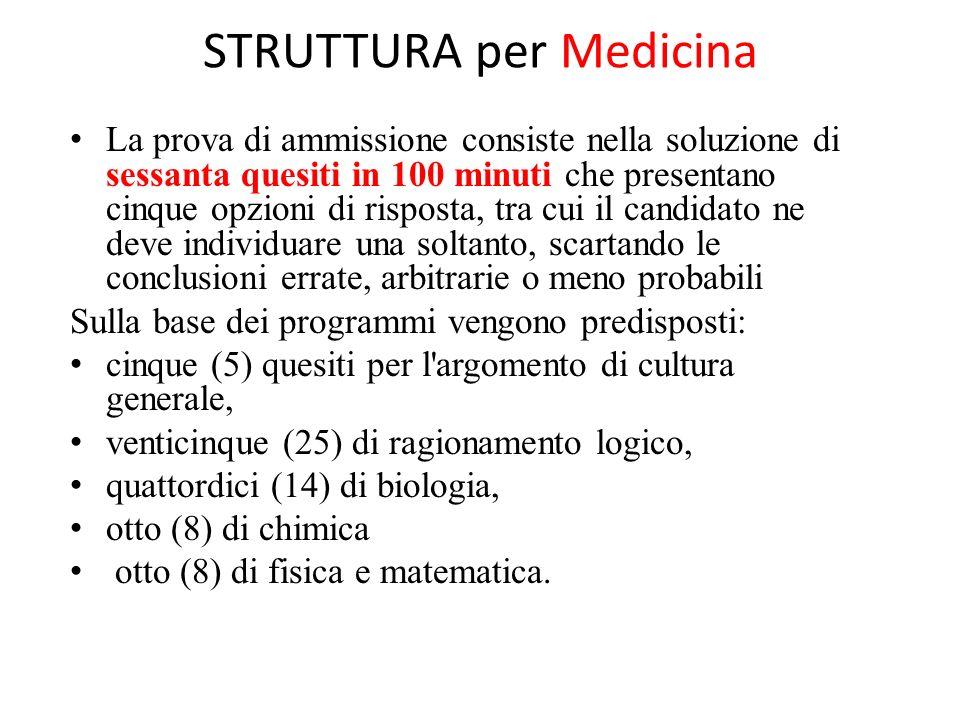 STRUTTURA per Medicina La prova di ammissione consiste nella soluzione di sessanta quesiti in 100 minuti che presentano cinque opzioni di risposta, tr