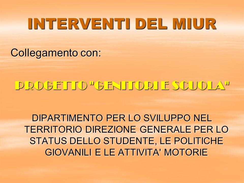 INTERVENTI DEL MIUR Collegamento con: PROGETTO