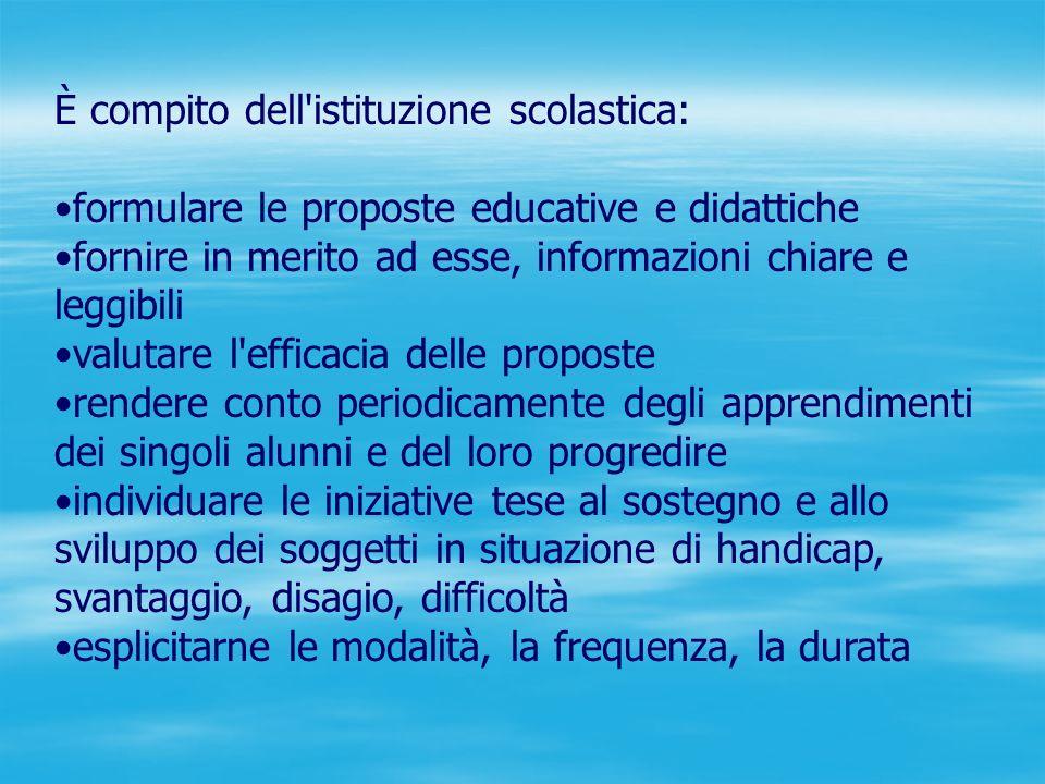 È compito dell'istituzione scolastica: formulare le proposte educative e didattiche fornire in merito ad esse, informazioni chiare e leggibili valutar