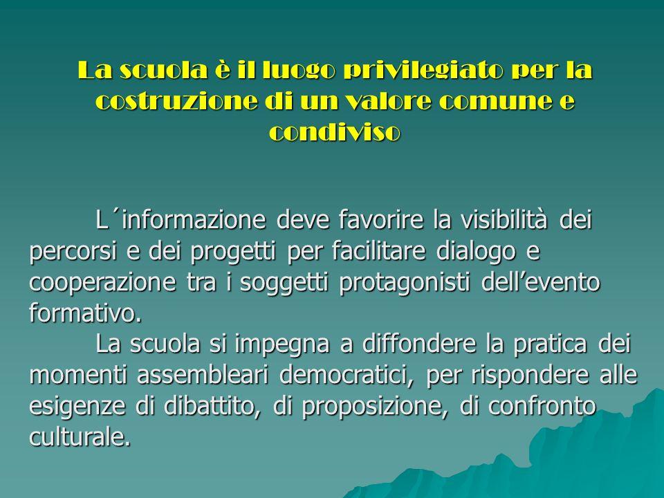 Gli organismi istituzionali, delegati alla rappresentanza, (organi collegiali) devono favorire e promuovere i processi di partecipazione.