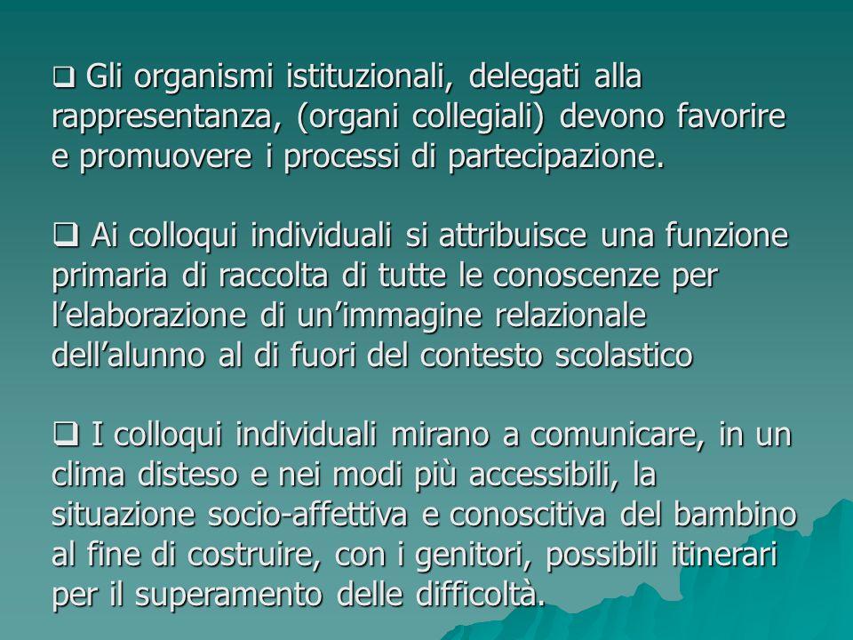 Gli organismi istituzionali, delegati alla rappresentanza, (organi collegiali) devono favorire e promuovere i processi di partecipazione. Gli organism