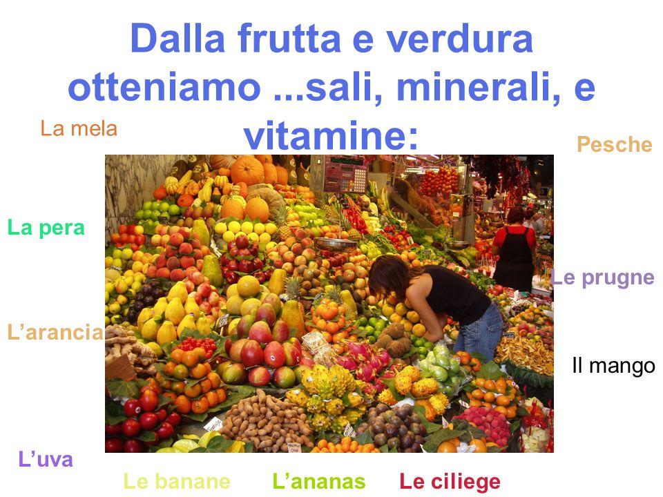 Dalla frutta e verdura otteniamo...sali, minerali, e vitamine: La mela La pera Larancia Luva Le bananeLananas Il mango Pesche Le prugne Le ciliege