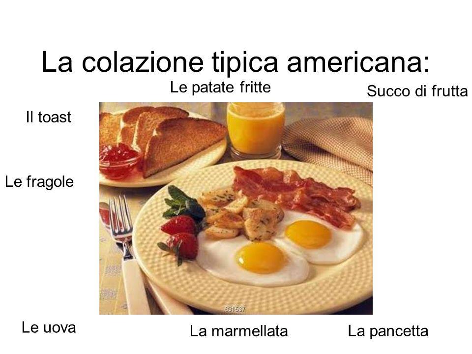 La colazione tipica americana: Succo di frutta Il toast La marmellata Le uova La pancetta Le patate fritte Le fragole