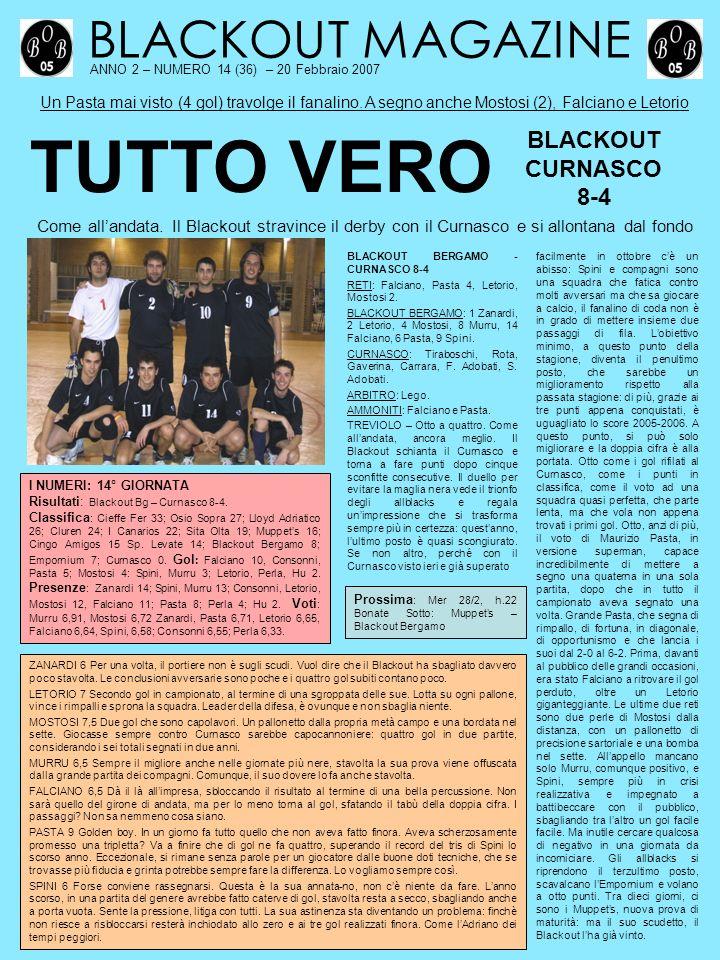 BLACKOUT MAGAZINE ANNO 2 – NUMERO 14 (36) – 20 Febbraio 2007 Un Pasta mai visto (4 gol) travolge il fanalino.