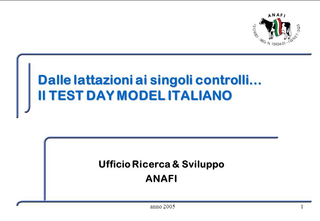 anno 20051 Dalle lattazioni ai singoli controlli… Il TEST DAY MODEL ITALIANO Ufficio Ricerca & Sviluppo ANAFI