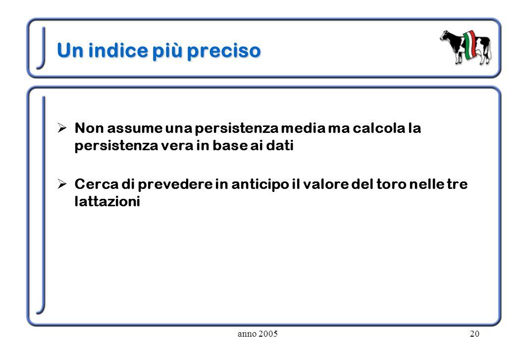 anno 200520 Un indice più preciso Non assume una persistenza media ma calcola la persistenza vera in base ai dati Cerca di prevedere in anticipo il va