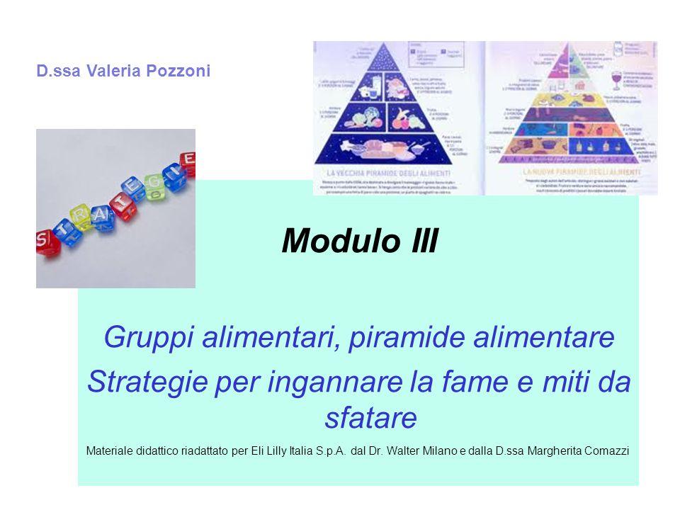 Modulo III Gruppi alimentari, piramide alimentare Strategie per ingannare la fame e miti da sfatare Materiale didattico riadattato per Eli Lilly Itali