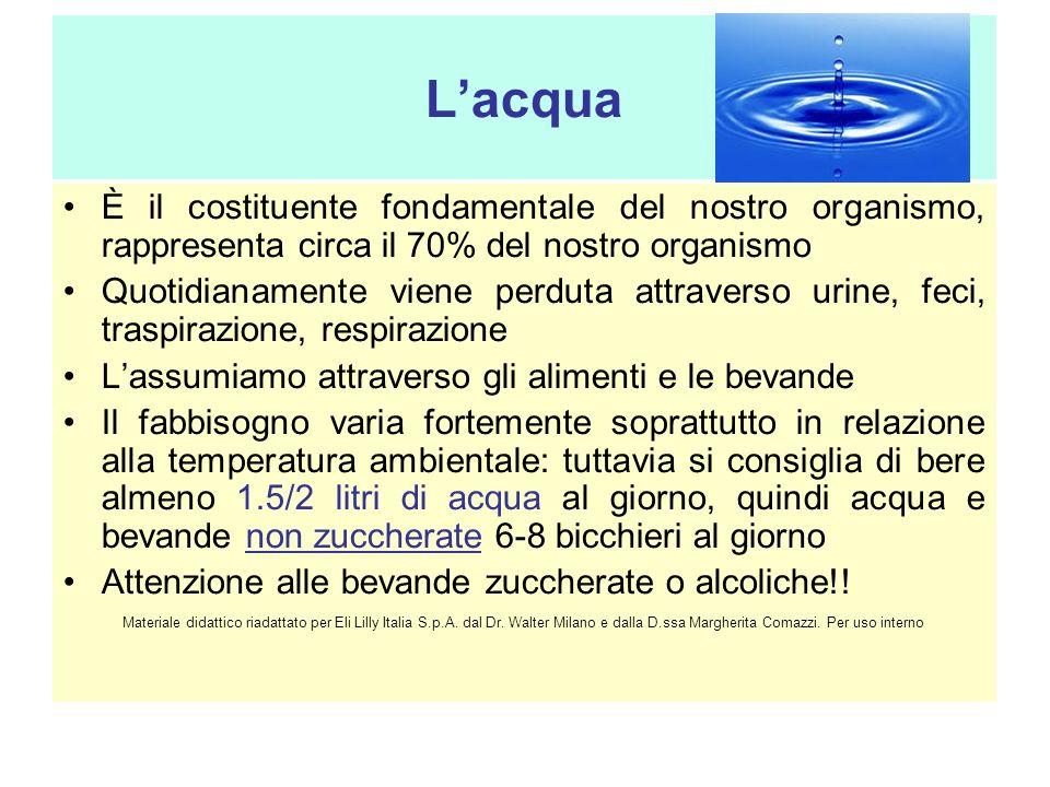 Lacqua È il costituente fondamentale del nostro organismo, rappresenta circa il 70% del nostro organismo Quotidianamente viene perduta attraverso urin