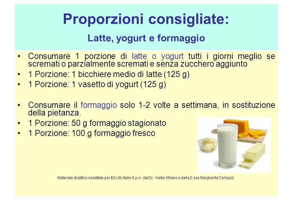 Proporzioni consigliate: Latte, yogurt e formaggio Consumare 1 porzione di latte o yogurt tutti i giorni meglio se scremati o parzialmente scremati e