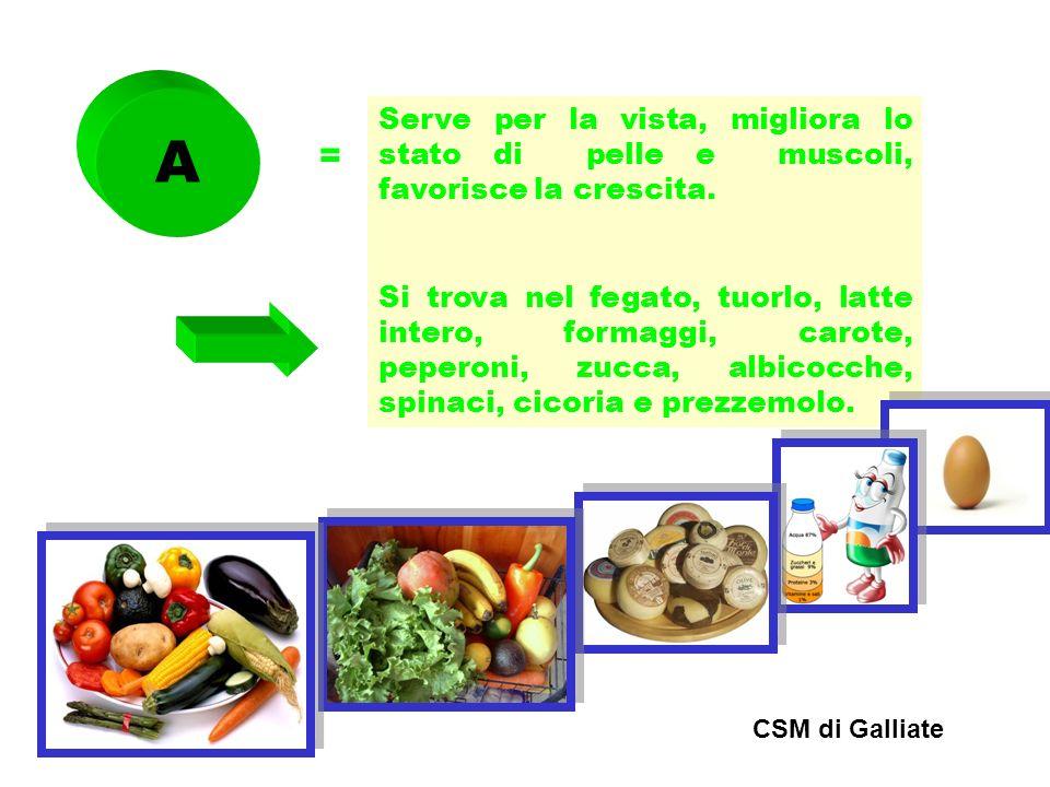 A = Serve per la vista, migliora lo stato di pelle e muscoli, favorisce la crescita. Si trova nel fegato, tuorlo, latte intero, formaggi, carote, pepe