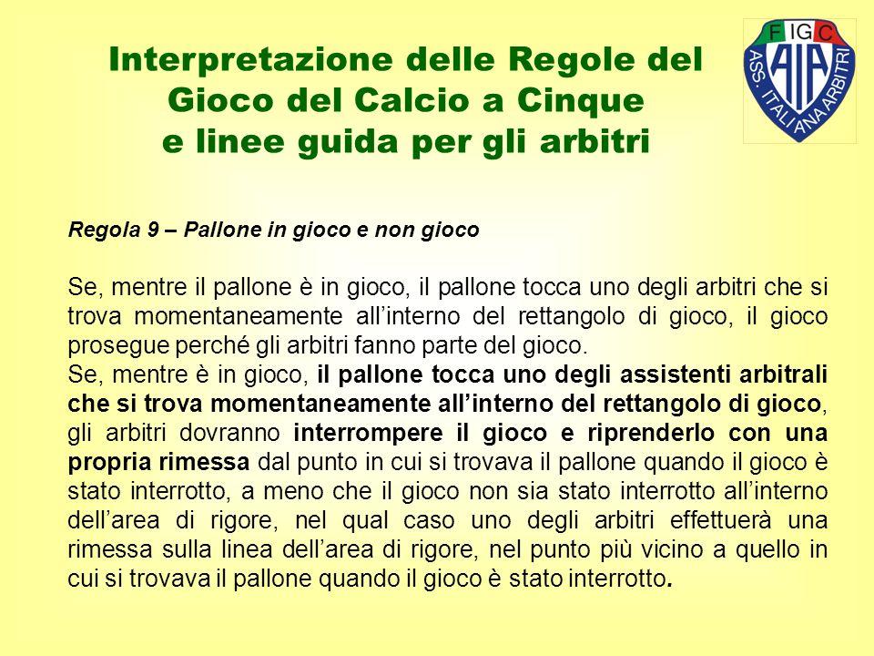 Regola 9 – Pallone in gioco e non gioco Se, mentre il pallone è in gioco, il pallone tocca uno degli arbitri che si trova momentaneamente allinterno d