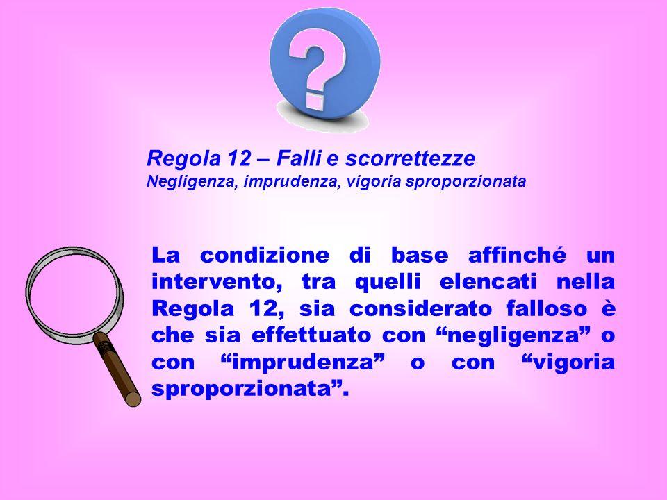 Regola 12 – Falli e scorrettezze Negligenza, imprudenza, vigoria sproporzionata La condizione di base affinché un intervento, tra quelli elencati nella Regola 12, sia considerato falloso è che sia effettuato con negligenza o con imprudenza o con vigoria sproporzionata.