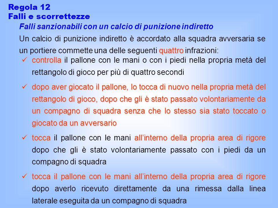 Regola 12 Falli e scorrettezze Falli sanzionabili con un calcio di punizione indiretto quattro Un calcio di punizione indiretto è accordato alla squad