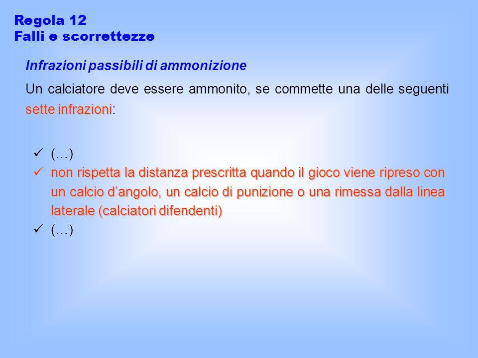 Regola 12 Falli e scorrettezze Infrazioni passibili di ammonizione sette infrazioni Un calciatore deve essere ammonito, se commette una delle seguenti