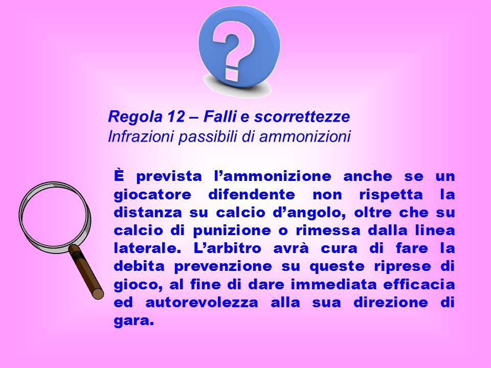 Regola 12 – Falli e scorrettezze Infrazioni passibili di ammonizioni È prevista lammonizione anche se un giocatore difendente non rispetta la distanza