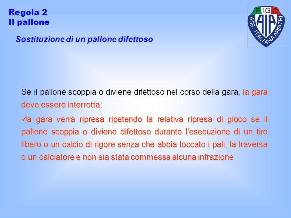 Sostituzione di un pallone difettoso Regola 2 Il pallone la gara deve essere interrotta Se il pallone scoppia o diviene difettoso nel corso della gara