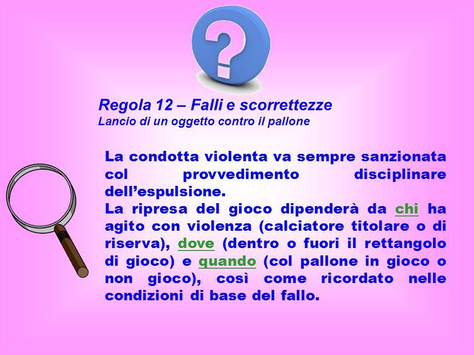 Regola 12 – Falli e scorrettezze Lancio di un oggetto contro il pallone La condotta violenta va sempre sanzionata col provvedimento disciplinare dellespulsione.