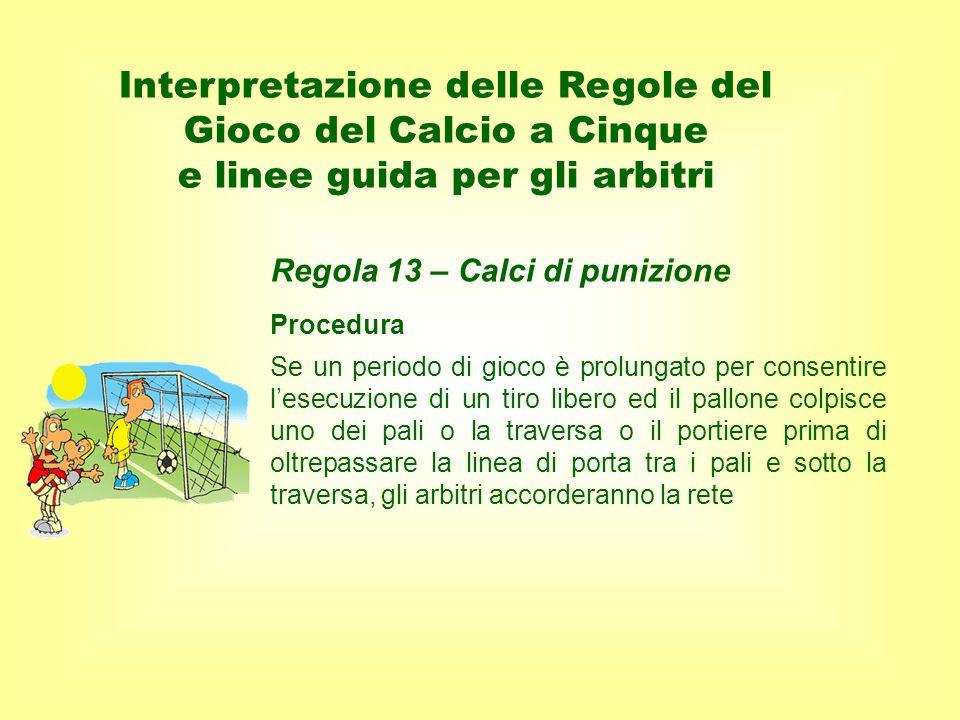 Procedura Se un periodo di gioco è prolungato per consentire lesecuzione di un tiro libero ed il pallone colpisce uno dei pali o la traversa o il port