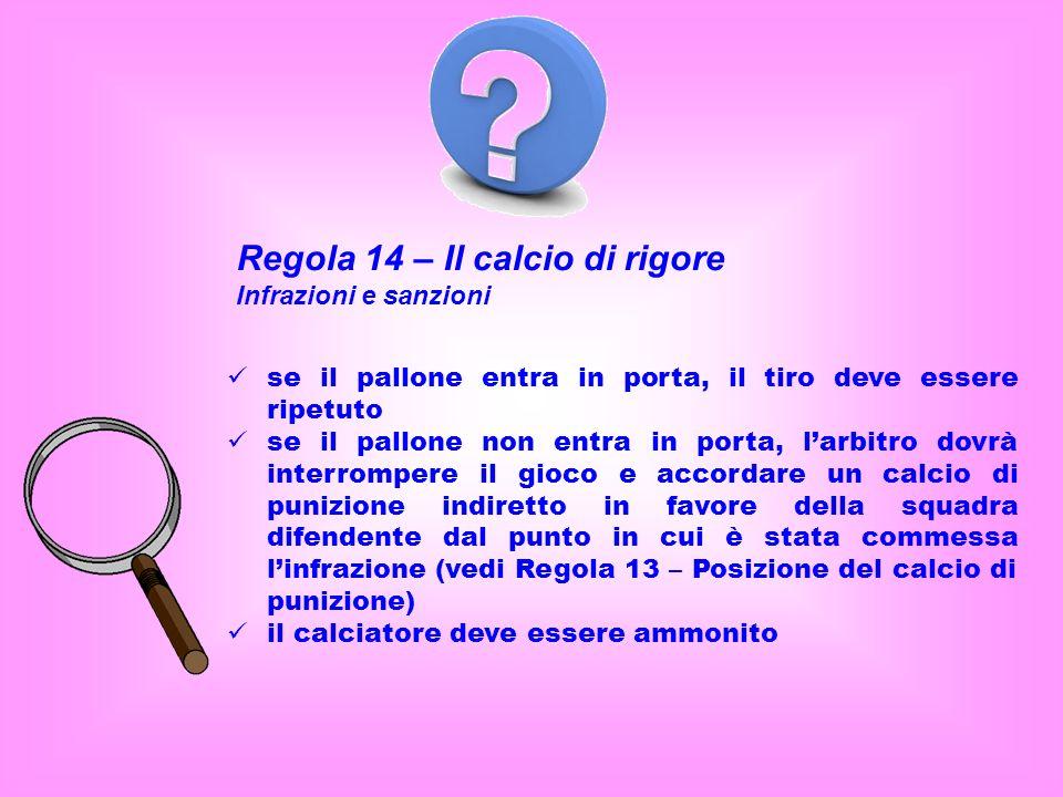 Regola 14 – Il calcio di rigore Infrazioni e sanzioni se il pallone entra in porta, il tiro deve essere ripetuto se il pallone non entra in porta, lar