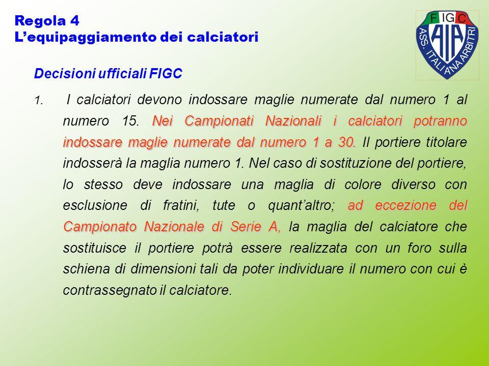 Decisioni ufficiali FIGC Nei Campionati Nazionali i calciatori potranno indossare maglie numerate dal numero 1 a 30.