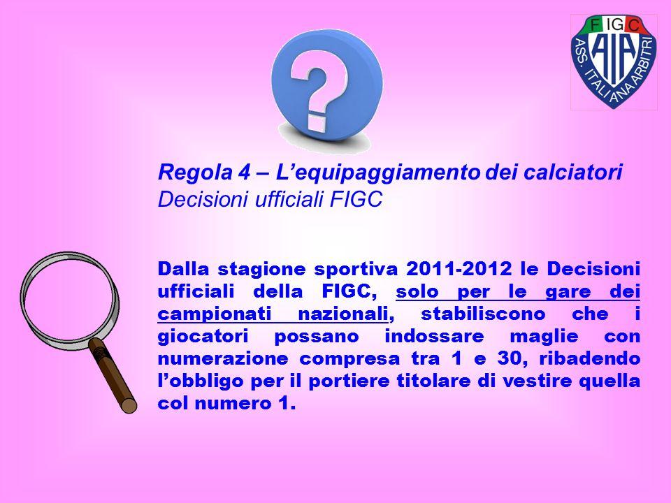 Dalla stagione sportiva 2011-2012 le Decisioni ufficiali della FIGC, solo per le gare dei campionati nazionali, stabiliscono che i giocatori possano indossare maglie con numerazione compresa tra 1 e 30, ribadendo lobbligo per il portiere titolare di vestire quella col numero 1.