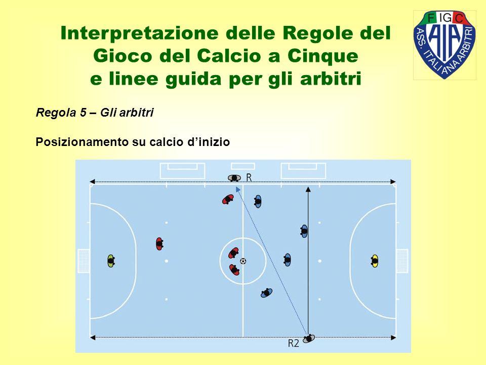 Regola 5 – Gli arbitri Posizionamento su calcio dinizio Interpretazione delle Regole del Gioco del Calcio a Cinque e linee guida per gli arbitri